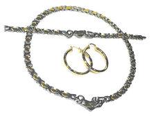 Womens 2 Tone I LOVE YOU Hugs & Kisses Necklace Bracelet Hoop Earrings No Stone