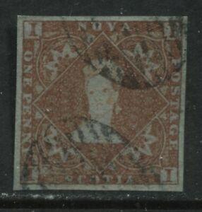 Nova Scotia 1853 1d red brown choice VF used