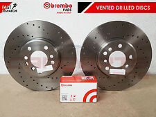 FOR AUDI A4 B8 A5 2008- REAR SOLID DRILLED BRAKE DISCS AND BREMBO PADS SET 300mm