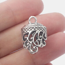 5 Antique Silver Lacework Filigree End Cap Beads Charms Jewelry Tassel Findings