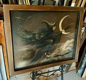 Bonnie Barrett Flying Witch on Broomstick Oil Painting (Boardwalk Originals)