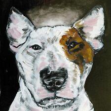 bull terrier angel dog print on ceramic tile Coaster gift