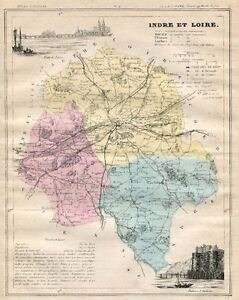 Genuine Original Antique 1877 France Hand Colored Map INDRE ET LOIRE French