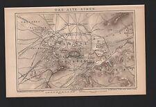 Landkarte city map 1896: Stadtplan DAS ALTE ATHEN. Griechenland Greece Areopagus