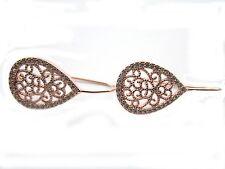 1 paio monachelle goccia filigrana argento 925 placcato oro ros zirconi bianchi