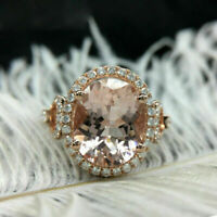 2 Ct Brilliant Oval Cut Morganite Halo Engagement Ring 14K Rose Gold Over