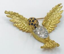 18kt yellow Gold Hummingbird Pin with Sapphires and Diamonds