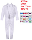 BOYS TUXEDO SPECIAL OFFER WHITE TAIL PENGUINO FREE COLOR BOW TIE ALL OCCASION