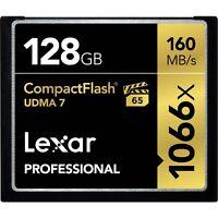 Lexar 128GB Professional 1066x UDMA 7 Compact Flash CF Pro VPG-65 4K Memory Card