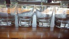 juice glasses whiskey glasses etched star design 4 7 oz flat bottom glasses Vtg