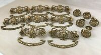 Vintage Brass Hardware for Dressers, Drawer Pulls & Knobs-Handles, Shiny Ornate