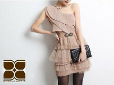$348 BCBG One 1 Shoulder Nude Pleated Tulle Mesh Cocktail Dress Size Medium M 8
