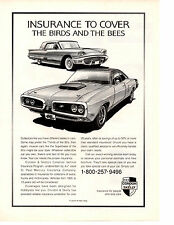 1970 DODGE CORONET SUPER BEE / 1959 FORD THUNDERBIRD  ~  NICE INSURANCE PRINT AD