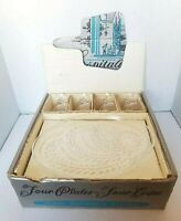 Vintage Federal Glass Co Hospitality Snack Set 8 PIECE EUC WHEAT DESIGN In Box