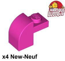 Lego - 4x Brique Brick Modified 1x2x1 x1/3 curved rose foncé/dark pink 6091 NEUF
