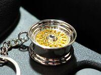 Felge Schlüsselanhänger BBS Style Gold Chrom aus Metall Auto Tuning Zubehör JDM