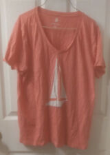 Tommy Hilfiger Womens Peach Sailboat Cotton T-shirt Large