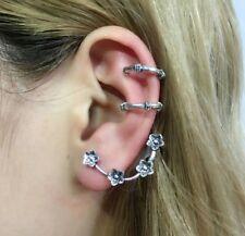 3x Women Men Punk Gothic Tibet Silver Plum Hoop Cuff Clip on Pireced Ear Studs *