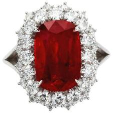 6.05 Carat Cushion Cut Pigeon Blood Ruby With 1.53CT Round CZ Halo Wedding Ring