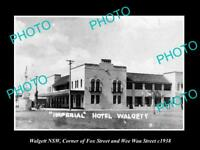 OLD LARGE HISTORIC PHOTO OF WALGETT NSW THE IMPERIAL HOTEL ON FOX St c1938