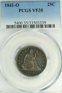 1841-O Seated Quarter : PCGS VF35