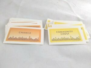 MONOPOLY Full Set 16 EACH COMMUNITY CHEST AND CHANCE CARDS 1998 Deluxe Edition