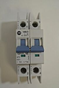 Allen Bradley Circuit Breaker 1489-D2C150 Ser A 2 pole 15 Amp 250v