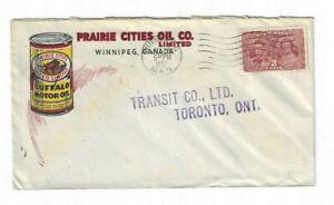 1937 3c coronation - Prairie Cities Oil Winnipeg cover to Transit Co Ltd Toronto