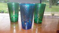 Colorful Juice glasses vintage 1960s silver filigree design 4 5 oz flat bottom
