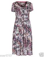 NEW Ex PER UNA Multi Colour Shift Dress Short Sleeve V Neck Party Size 12 - 24