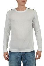 Just Cavalli Men's White Long Sleeve Crewneck Sweater US M IT 50