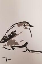 JOSE TRUJILLO SIGNED COA ABSTRACT MODERN INK WASH SMALL LITTLE BIRDS 6X9