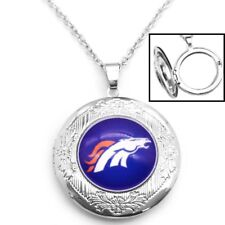 """Denver Broncos Womens 925 Silver 20"""" Link Chain Necklace And Photo Locket D16"""