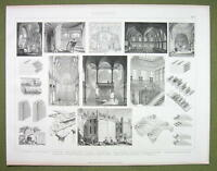 ARCHITECTURE Masonry Walls Vaulting Domes Arches - 1870s Engraving Print