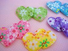 50 Colorful Flower Cotton Print Heart Applique/Trim/Floral Fabric/Quilting H442