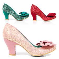 Irregular Choice Ban Joe Cinderella Glitter Bow Vintage Wedding Prom Shoes UK