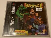 🔥 RAMPAGE WORLD TOUR - PS1 PlayStation 1 PSX GAME 💯 COMPLETE MINT BLACK LABEL
