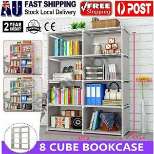 8 Cube Storage Shelf Rack Bookcase Cabinet Organizer Bookshelf Book Display Unit