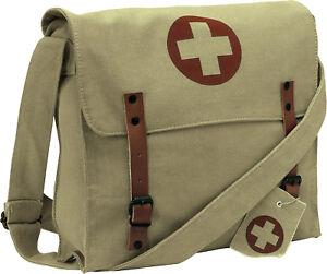 Khaki Vintage Canvas Medic Red Cross Military Shoulder Bag