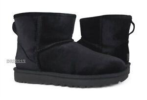 UGG Classic Mini Velvet Black Fur Boots Womens 7 *NIB*