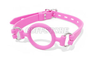 Lockable Pink Open Mouth Gag Silicone Oral O Ring for Women Men Fetish Toy