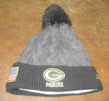 NFL GREEN BAY PACKERS NEW ERA WOMAN'S SALUTE TO SERVICE KNIT CAP OSFA HAT GRAY