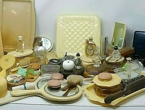 Massive Antique Vanity Lot Perfume Bottles Mirrors Hair Collectors Compacts 4271