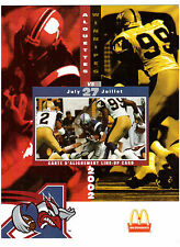 CFL 2002 LINE-UP CARD, MONTREAL ALOUETTES vs WINNIPEG BLUE BOMBERS JULY 27 !!