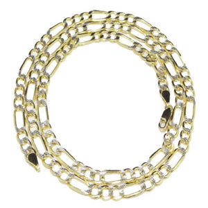 Men New 4.5mm Italian 10k Real Genuine Gold Pave Figaro Curb Link Chain Necklace