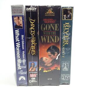 VHS MOVIE NIGHT LOT Gone With The Wind RIVER RUNS THROUGH IT Dances Wolves WOMEN
