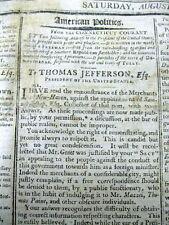 1801 newspaper THOMAS JEFFERSON criticized4 FIRING OFFICIAL 4 POLITICAL OPINIONS