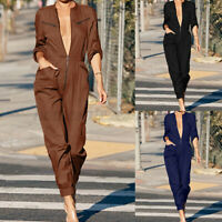 Womens Long Sleeve V Neck Playsuit Jumpsuit Boilersuit Tapered Overall Plus Size