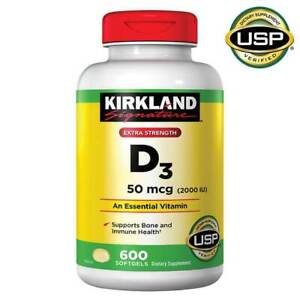 Kirkland Signature Extra Strength D-3 2000 IU Immune Health 50mcg 600 Softgels