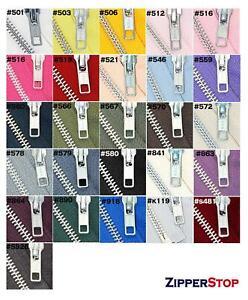 "YKK #5 Medium Weight Aluminum Metal Jacket Zipper Separating Length 7"" - 16"""